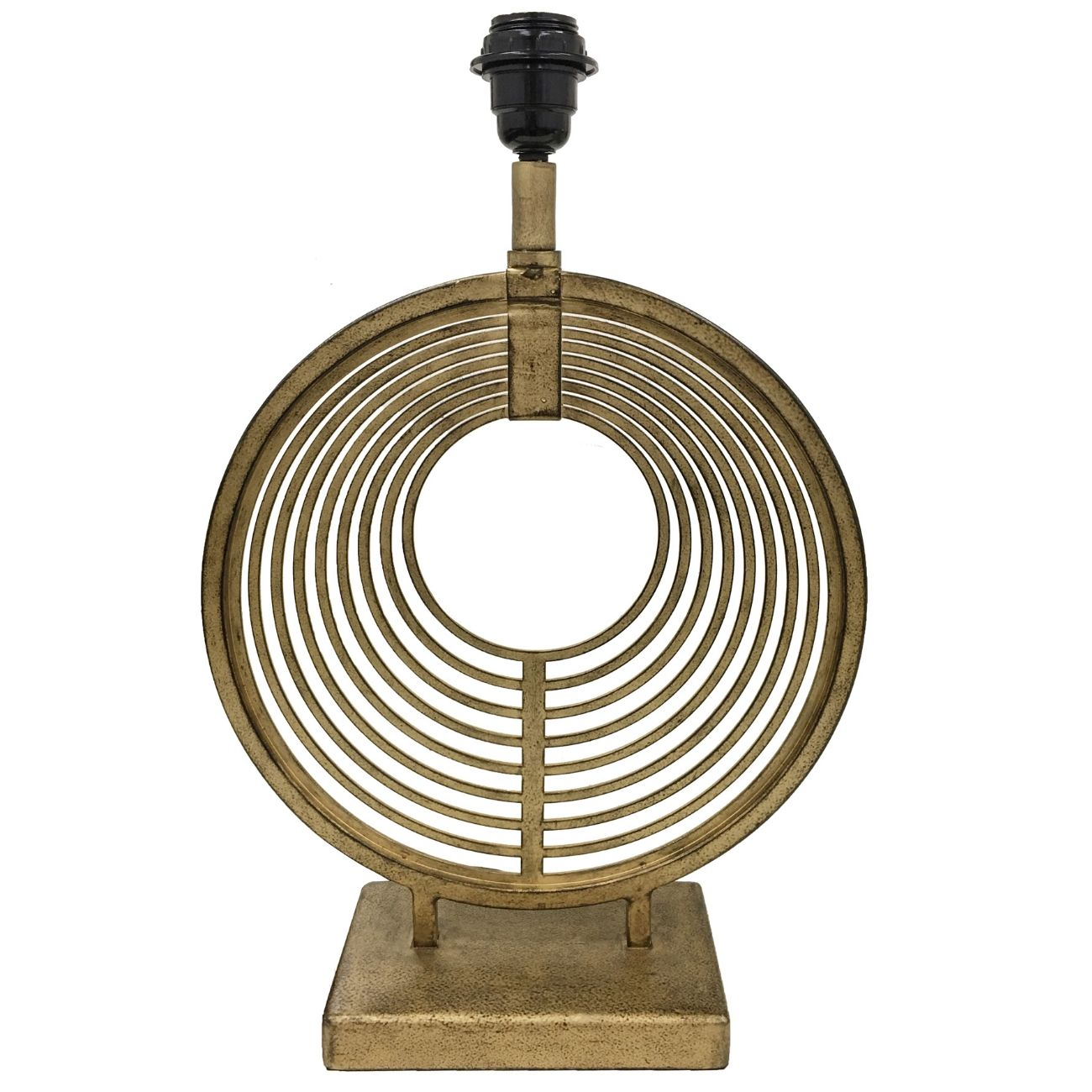 Champagne Iron Table Lamp With Concentric Circles (Base Only) E27 60W 14