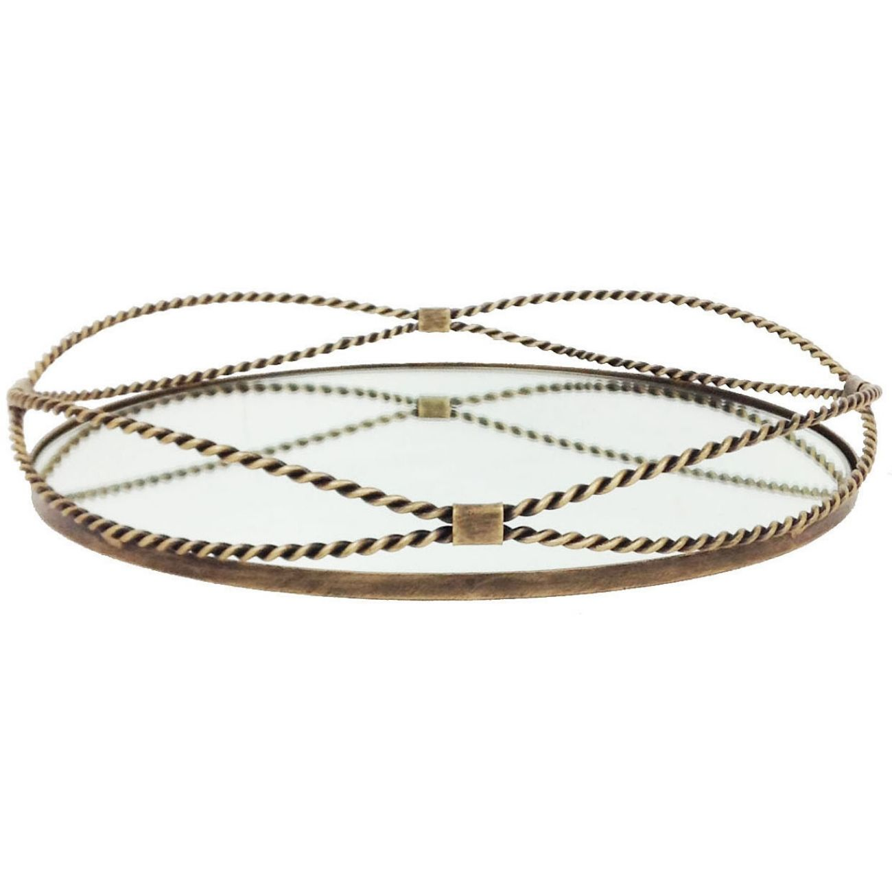Carrick Round Gold Iron Tray With Fine Rope Detail thumbnail