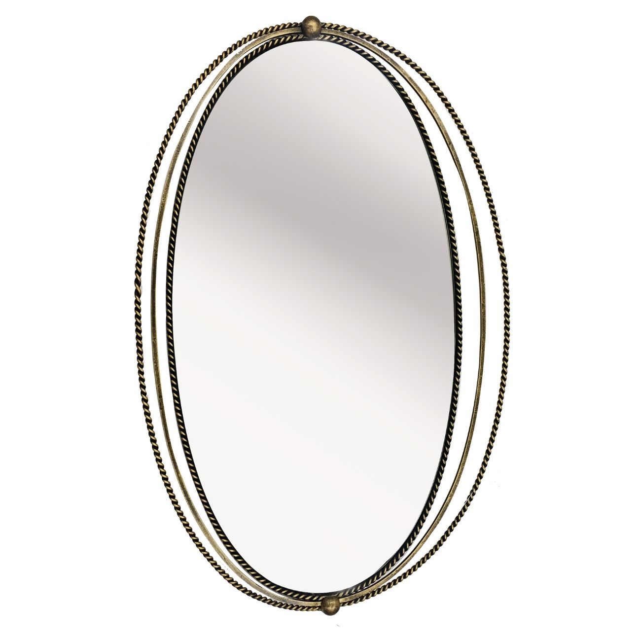 Carrick Oval Gold Iron Mirror With Fine Rope Detail thumbnail