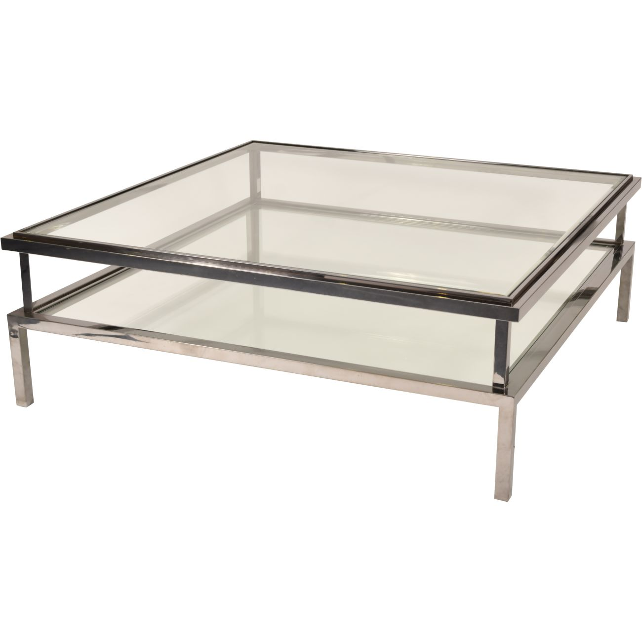 Belgravia Stainless Steel and Glass Square Coffee Table 120x120x42cm thumbnail