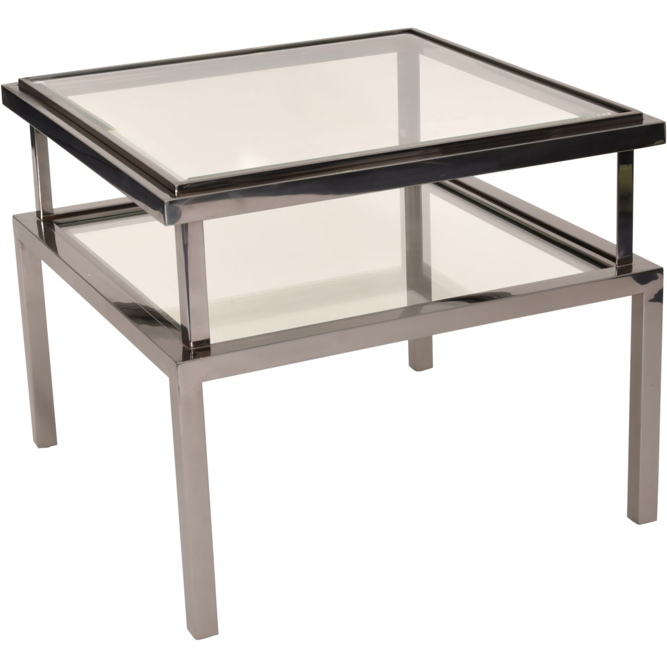 Belgravia Stainless Steel and Glass Square Side Table 65x65x55cm thumbnail