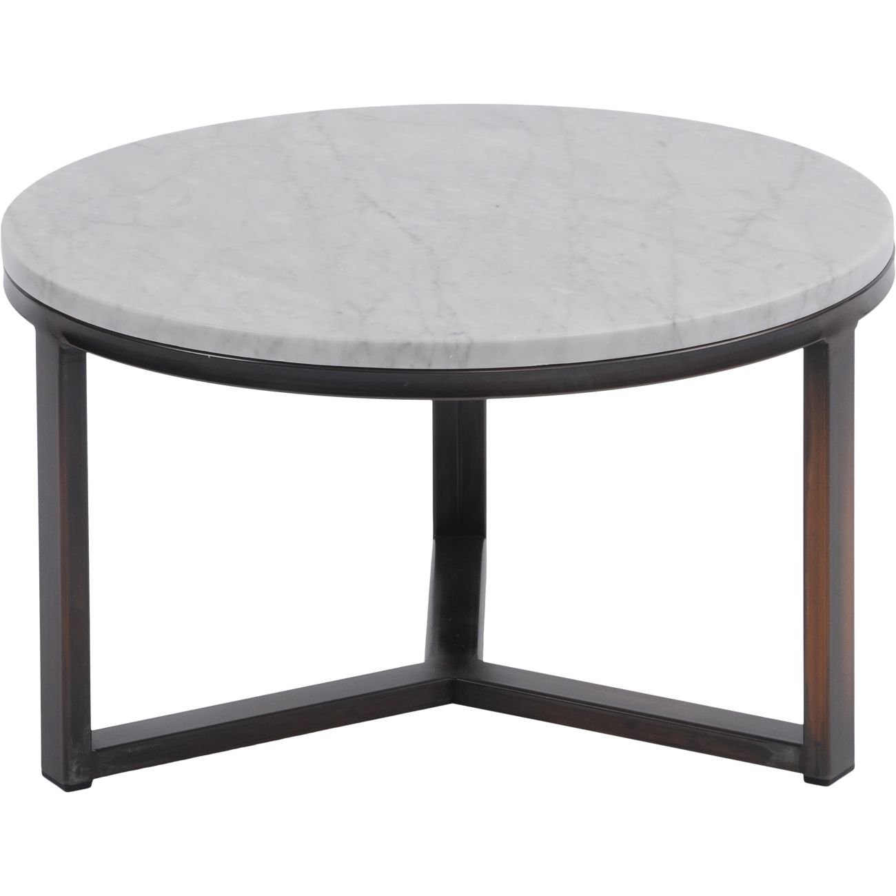 Fitzroy Pale Grey Carrara Marble and Bronze Coffee Table, Small thumbnail