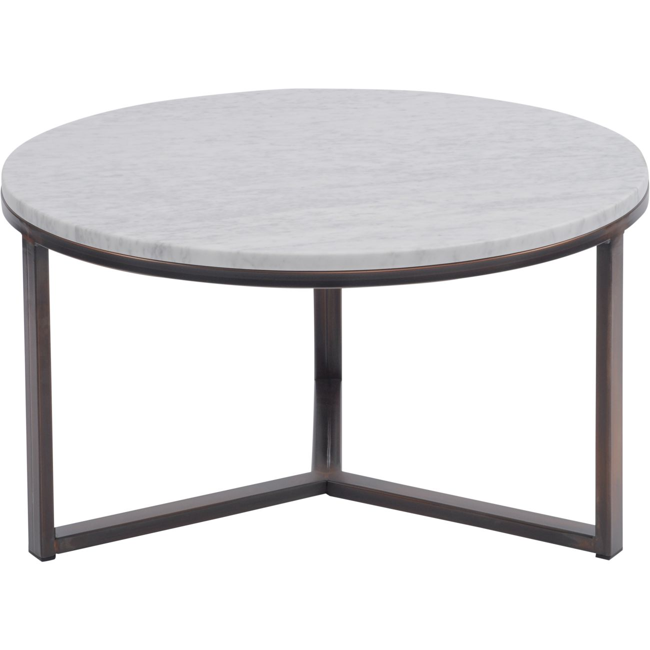 Fitzroy Pale Grey Carrara Marble and Bronze Coffee Table, Large thumbnail
