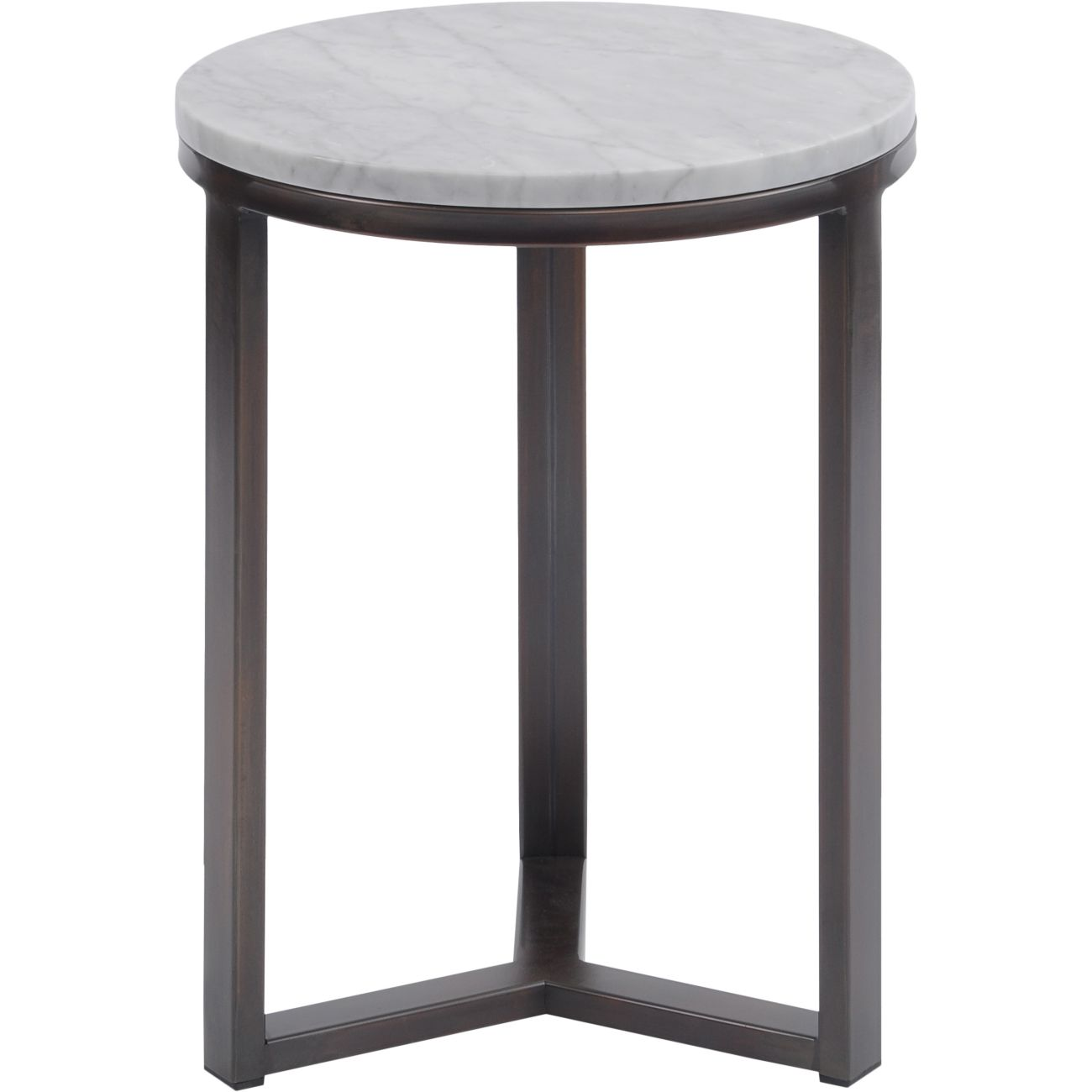 Fitzroy Pale Grey Carrara Marble and Bronze Side Table thumbnail