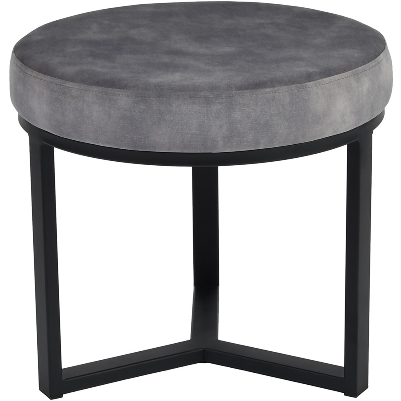 Shoreditch Grey Upholstered Velvet Stool with Black Metal Frame, Small thumbnail