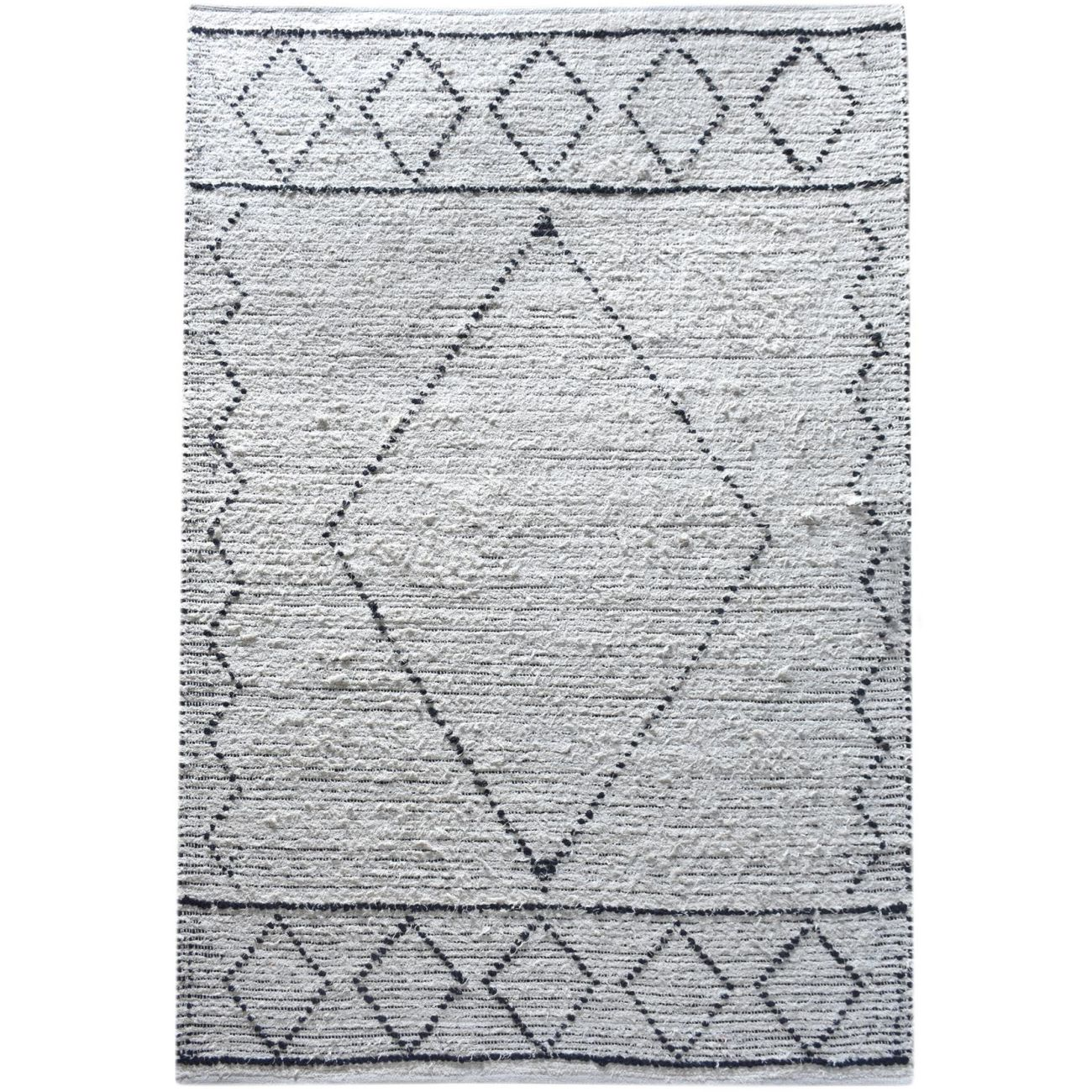 Abar Hand Woven Pit Loom Ivory & Charcoal Pattern 160x230cm Cotton Rug thumbnail