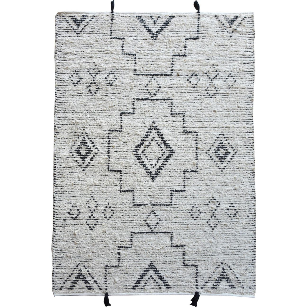 Agnez Hand Woven Pit Loom Ivory & Charcoal Pattern 160x230cm Cotton Rug thumbnail