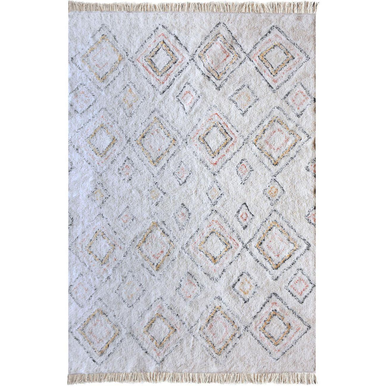 Ahar Table Tufted Ivory & Multi Colour Pattern 160x230cm Cotton Rug thumbnail