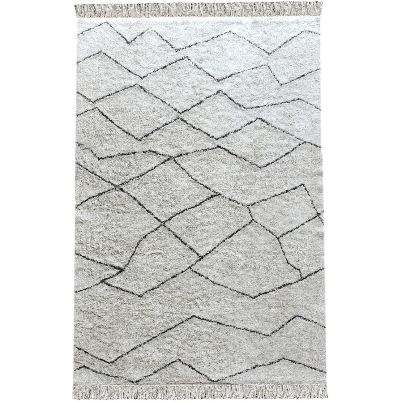 Ahun Table Tufted Ivory & Charcoal Pattern 160x230cm Cotton Rug thumbnail