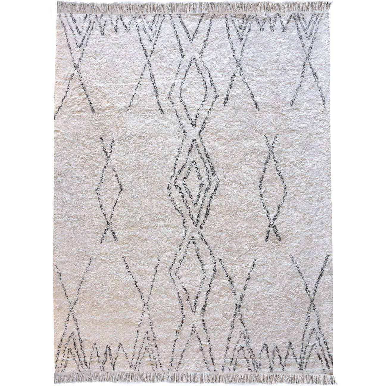 Akra Table Tufted Ivory & Charcoal Pattern 160x230cm Cotton Rug thumbnail