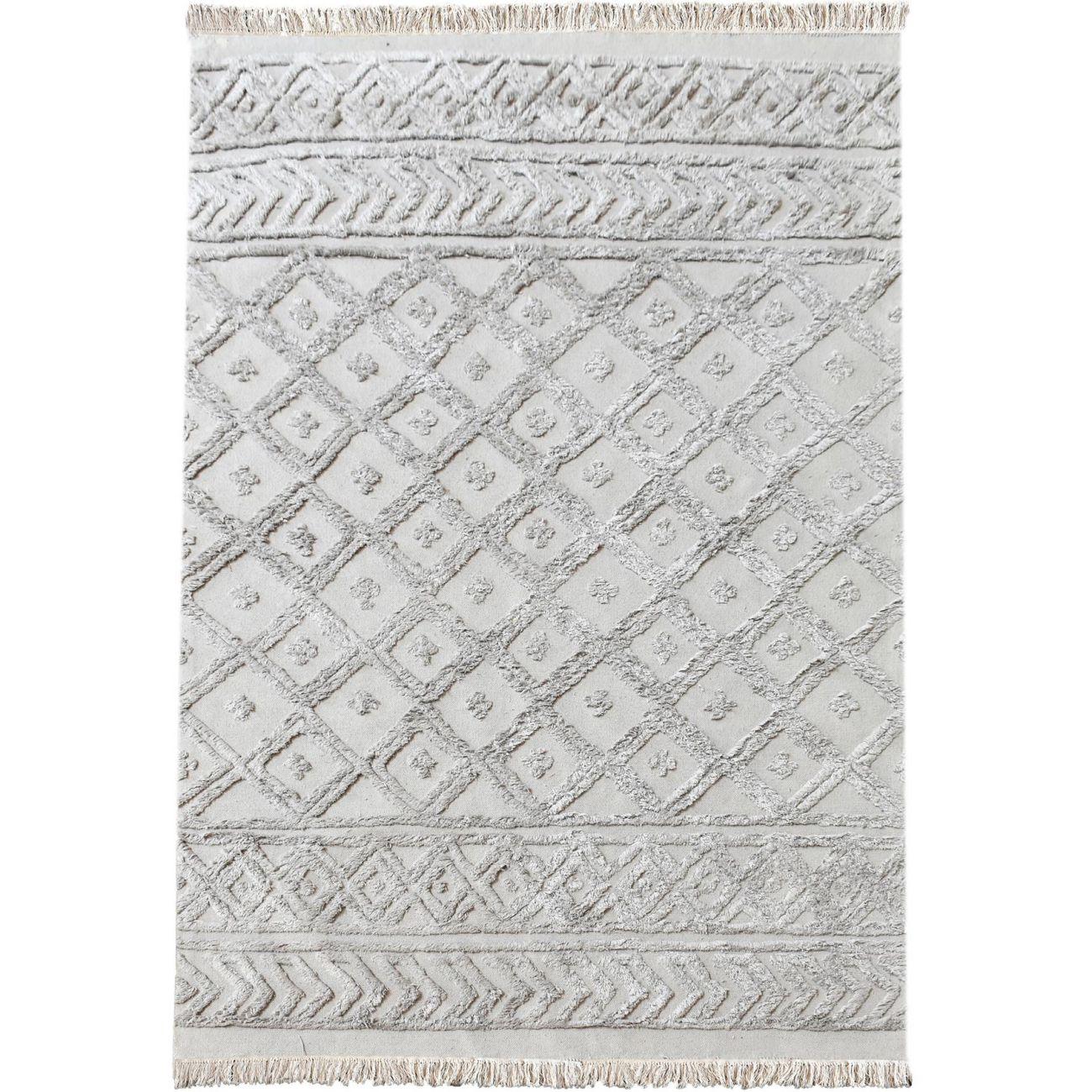 Alphen Table Tufted Grey Pattern 160x230cm Cotton Rug thumbnail