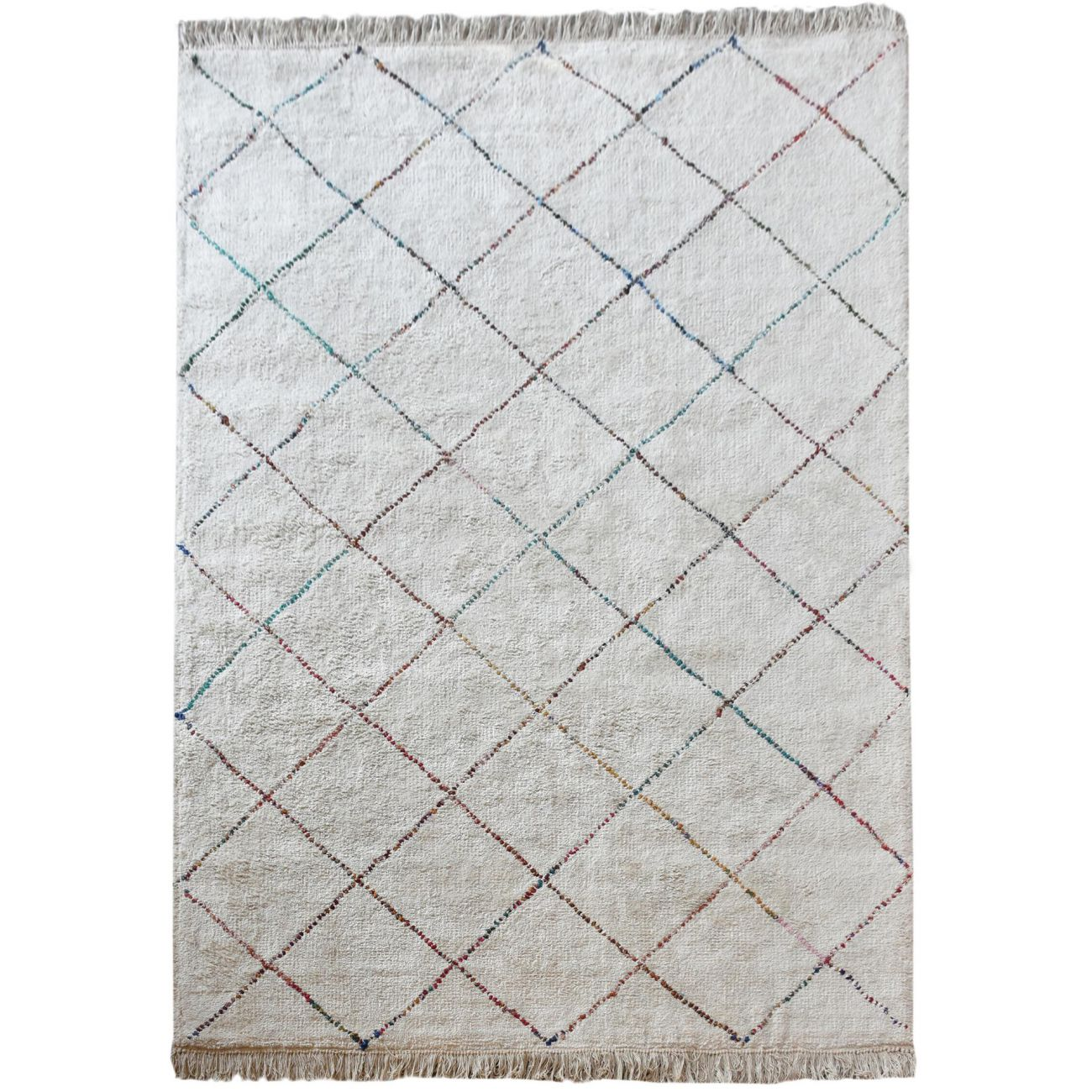 Amager Table Tufted Ivory & Multi Colour Pattern 160x230cm Cotton Rug thumbnail