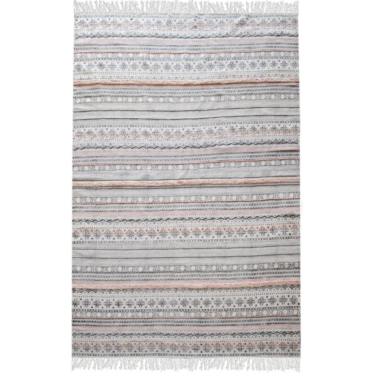 Andujar Hand Woven Pit Loom Grey & Blush Pattern 160x230cm Cotton Rug thumbnail
