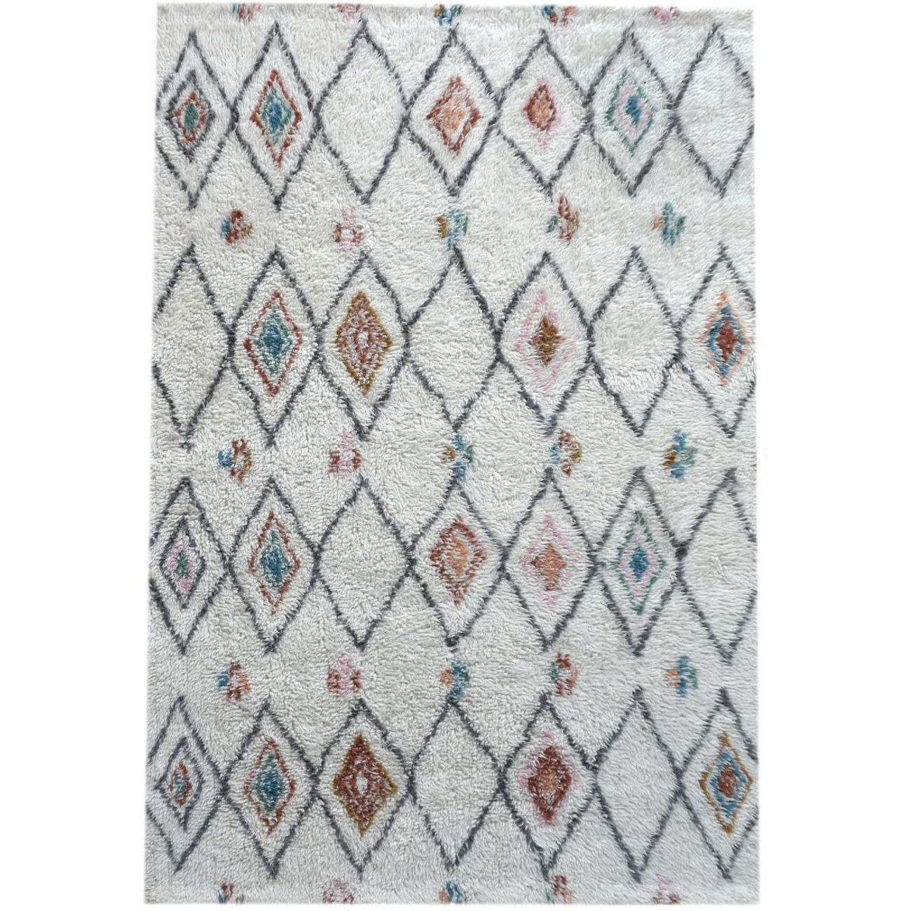 Anrath Table Tufted Ivory & Multi Colour Pattern 160x230cm Wool Rug thumbnail