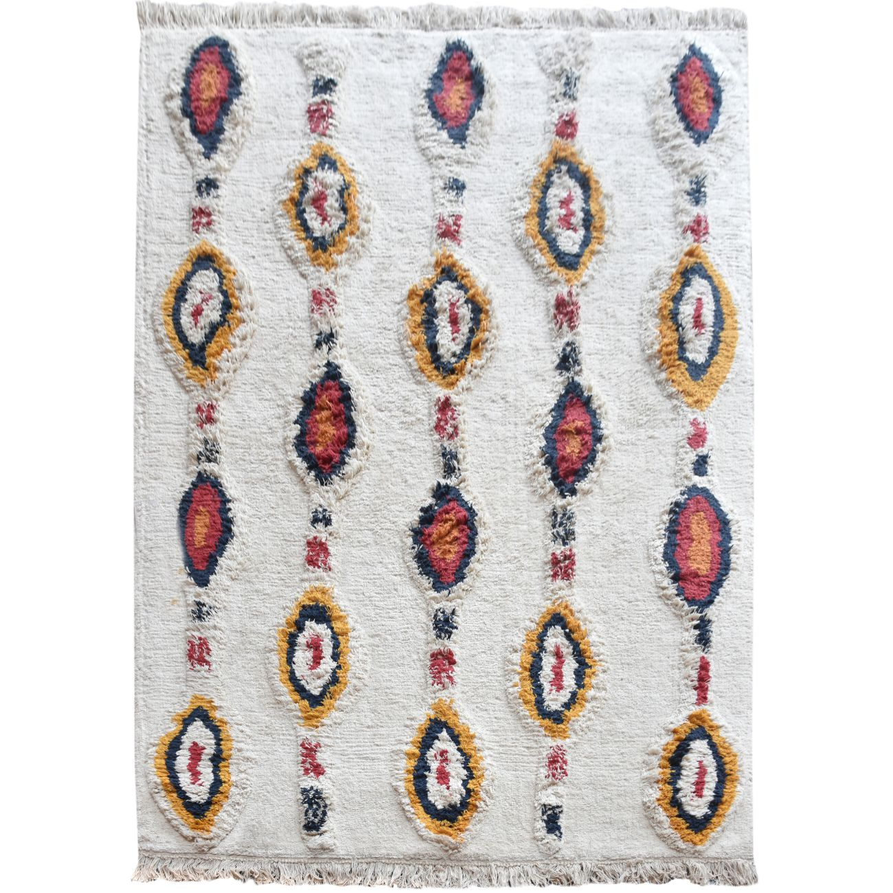 Anso Table Tufted Ivory & Multi Colour Pattern 160x230cm Cotton Rug thumbnail