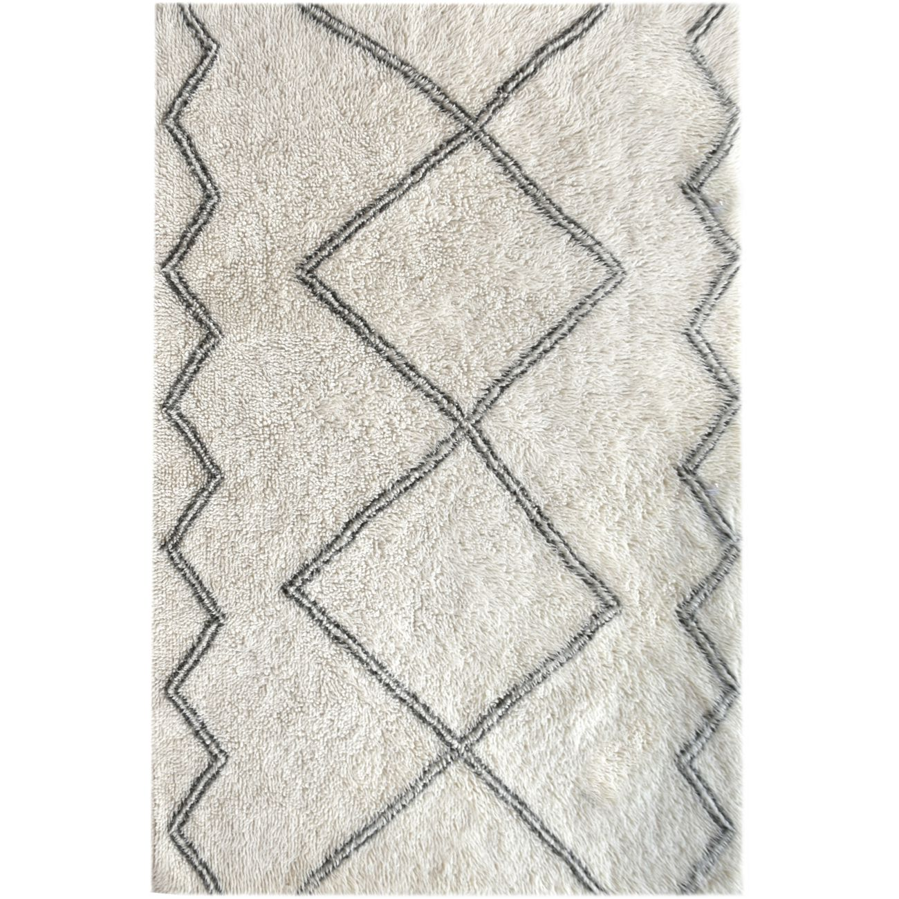 Arbil Table Tufted Ivory & Grey Pattern 160x230cm Wool Rug thumbnail