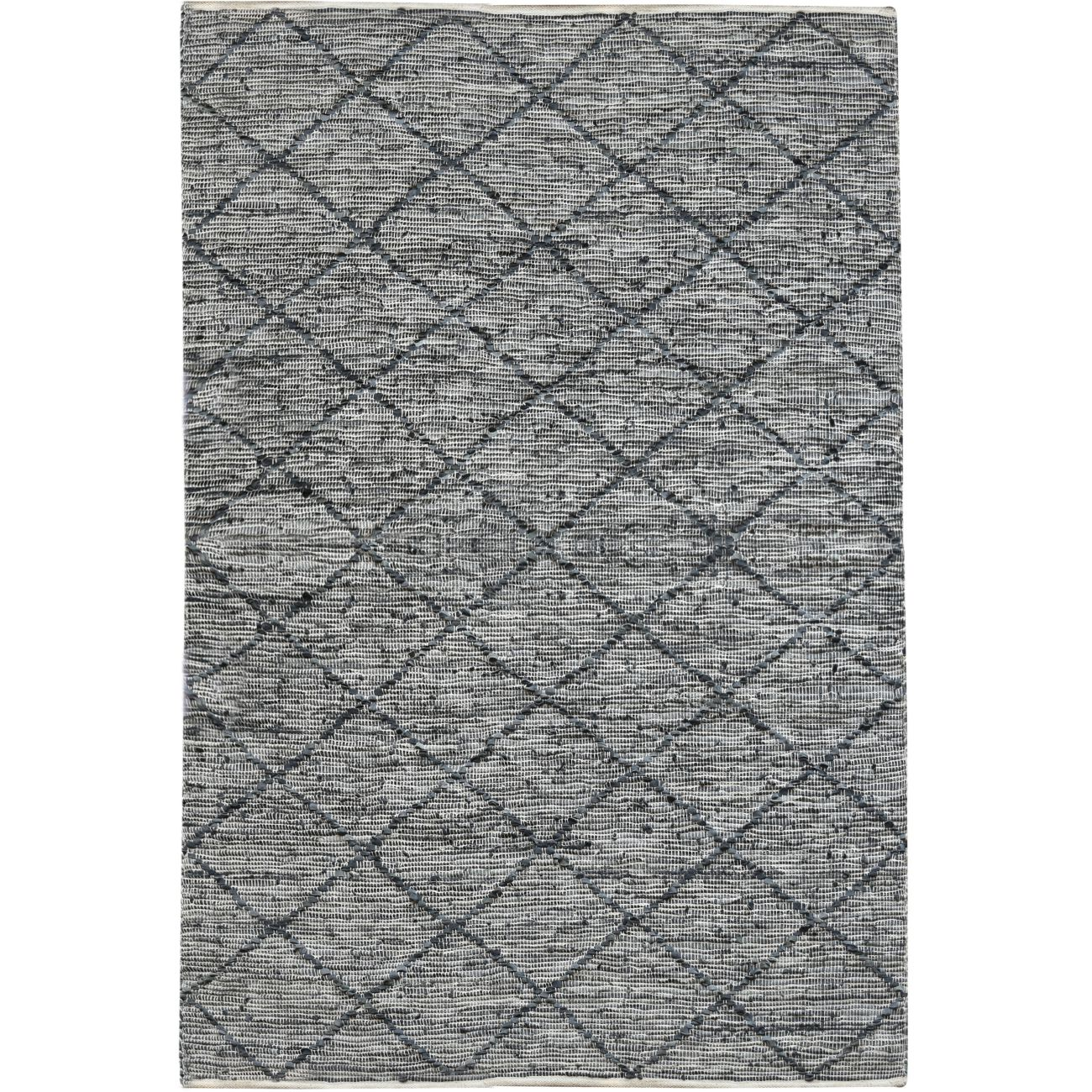 Aubel Hand Woven Pit Loom Grey Pattern 160x230cm Leather Rug thumbnail