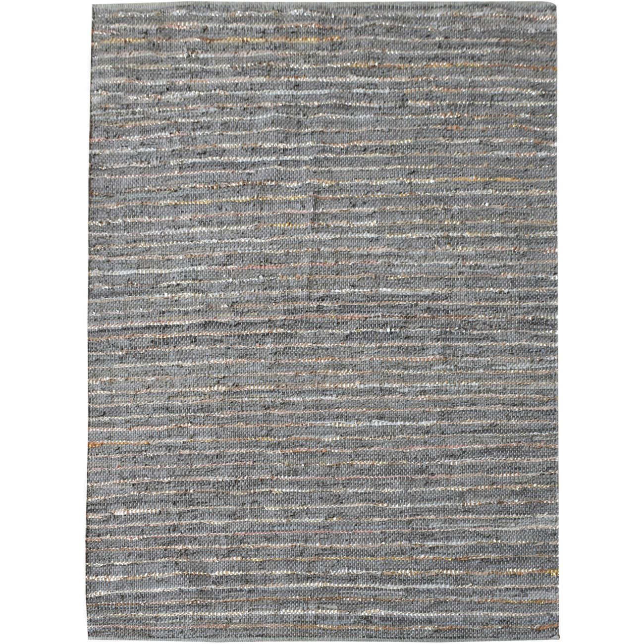 Aure Hand Woven Pit Loom Grey Pattern 160x230cm Leather Rug thumbnail