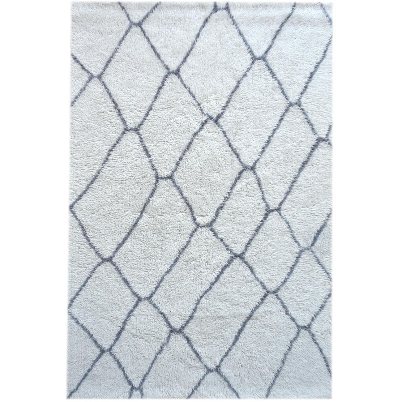 Catak Table Tufted Ivory & Grey Pattern 160x230cm Wool Rug thumbnail