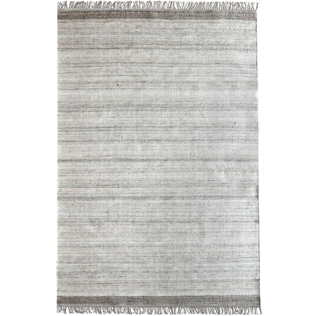 Bibury Hand Woven Pit Loom Ivory & Grey 160x230cm PET Rug thumbnail