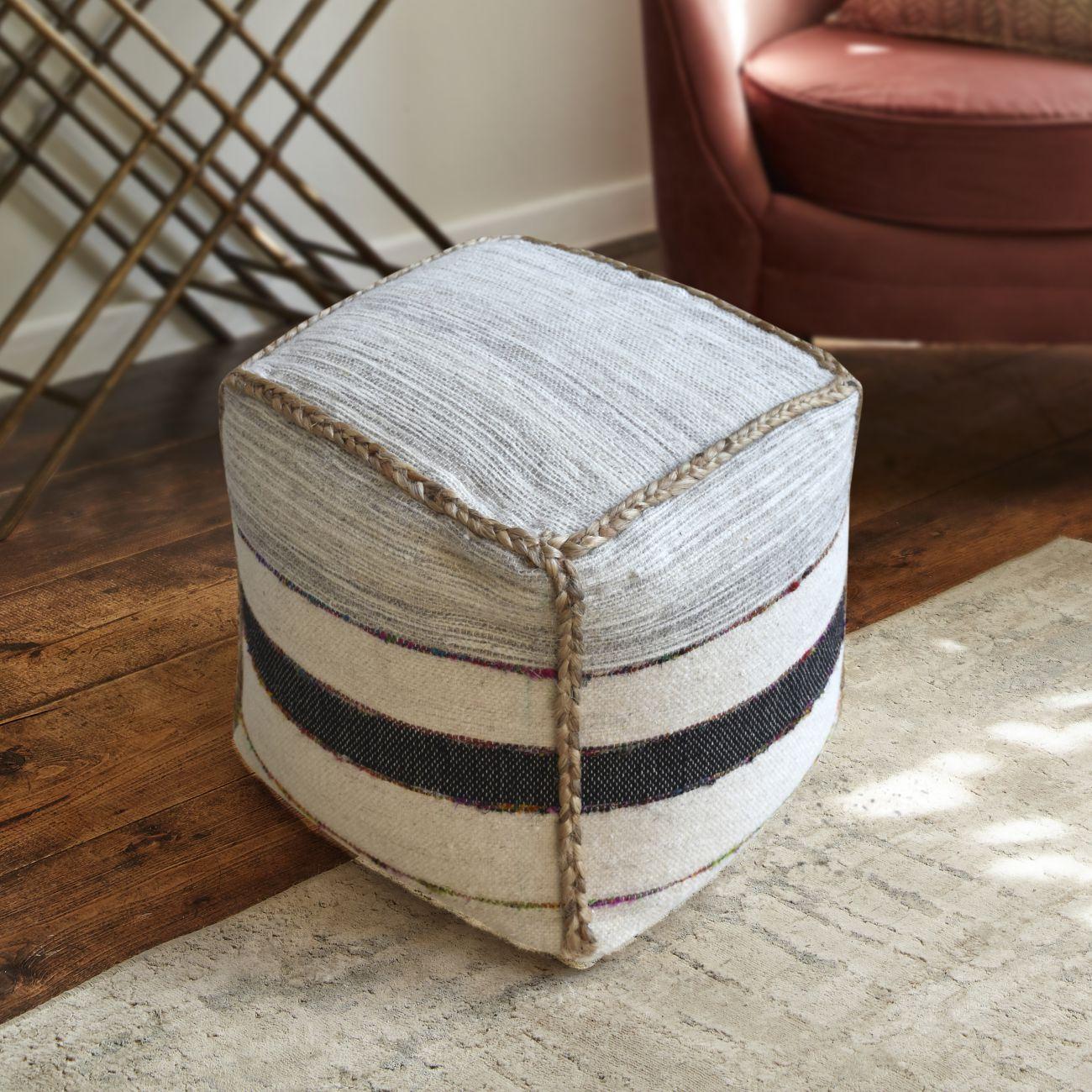 Bervie Hand Woven Pit Loom Natural Charcoal & Multi Colour Hemp Pouffe thumbnail