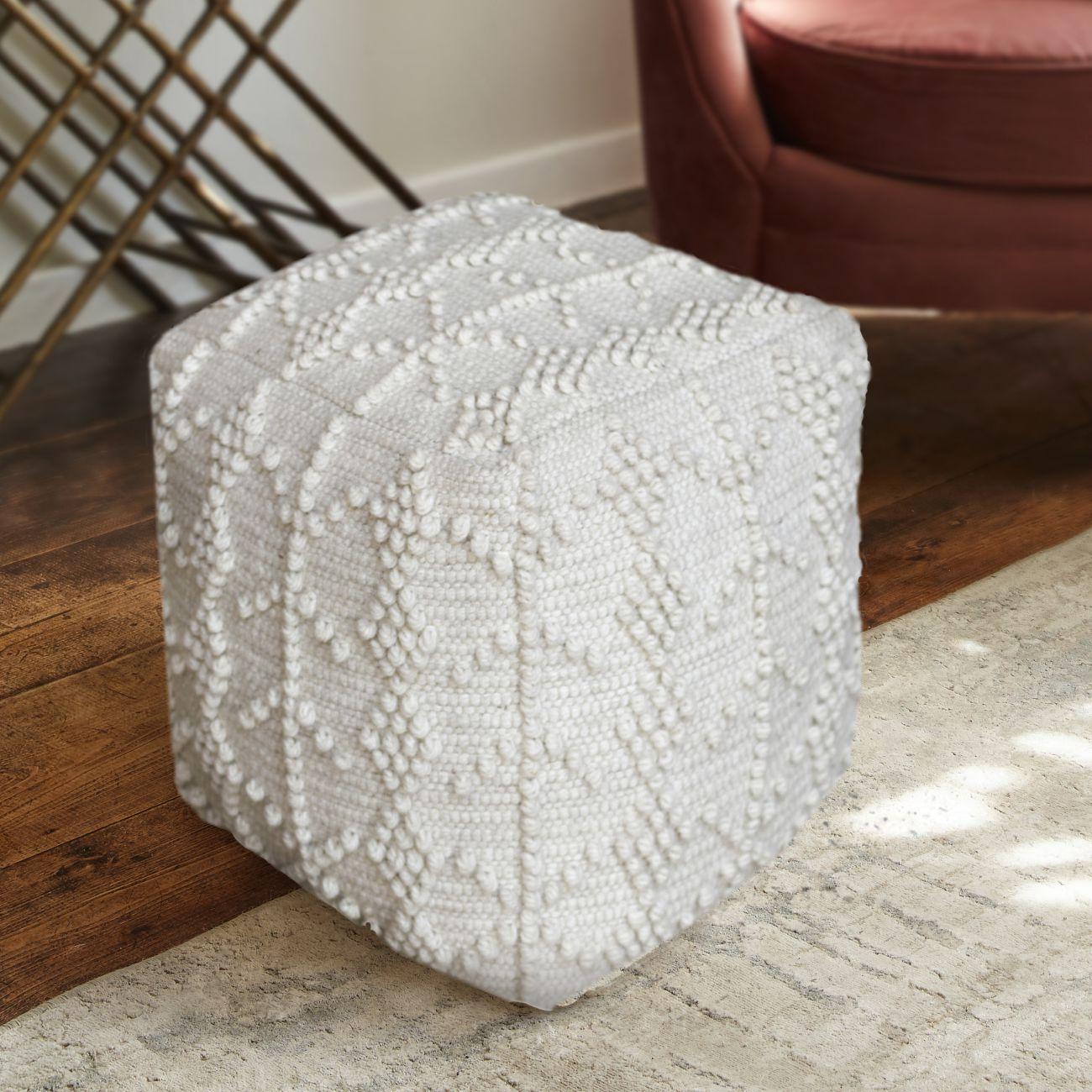 Dezh Hand Woven Pit Loom Ivory Wool Pouffe thumbnail