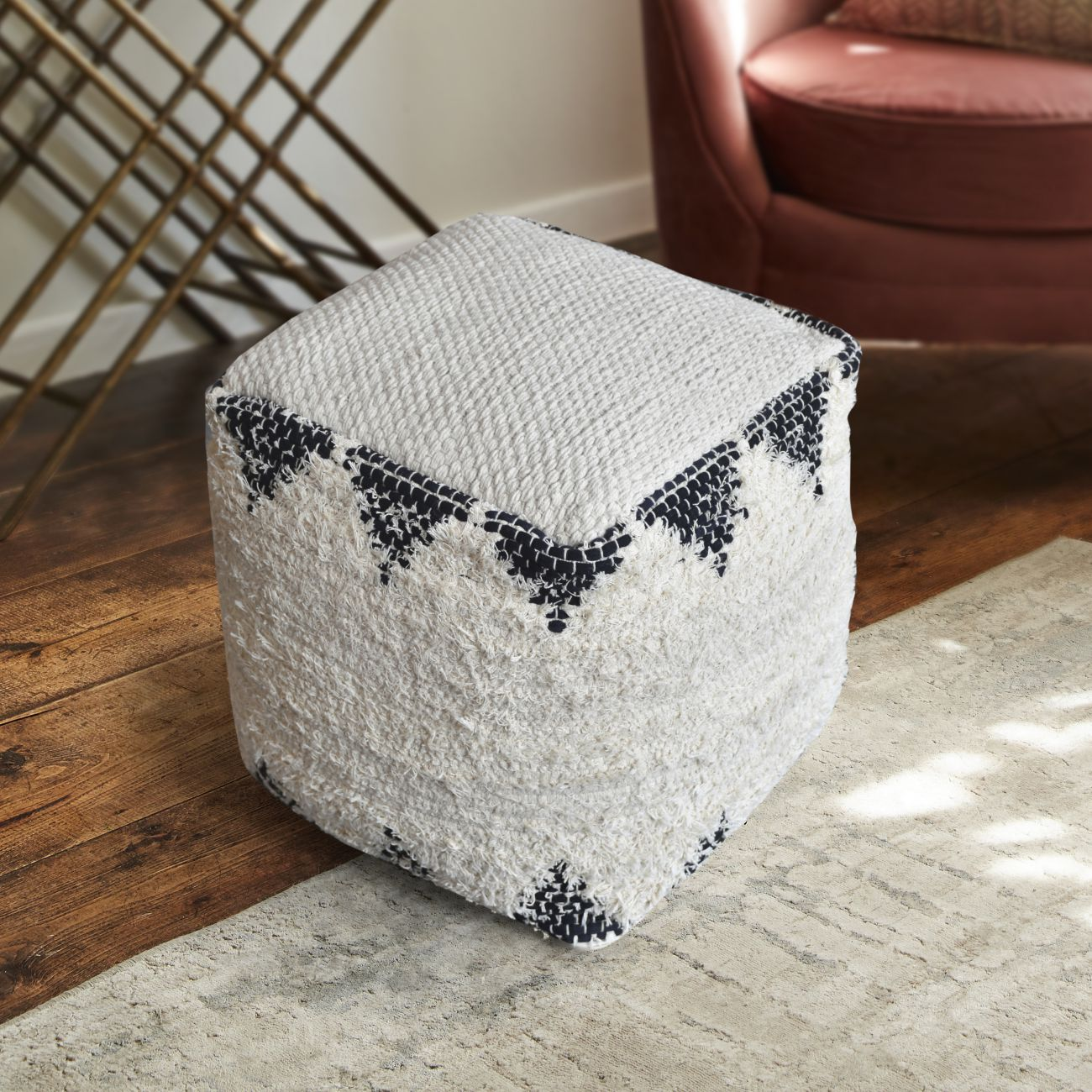 Calif Hand Woven Pit Loom Ivory & Charcoal Recycled Cotton Pouffe thumbnail