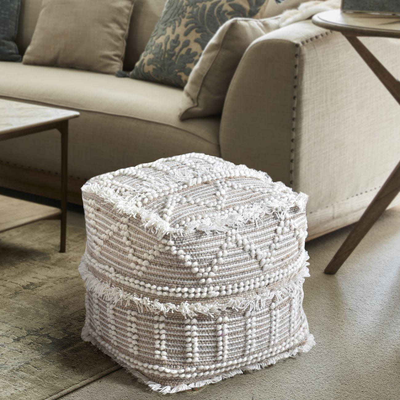 Constanza Hand Woven Pit Loom Natural & lvory Wool Pouffe thumbnail