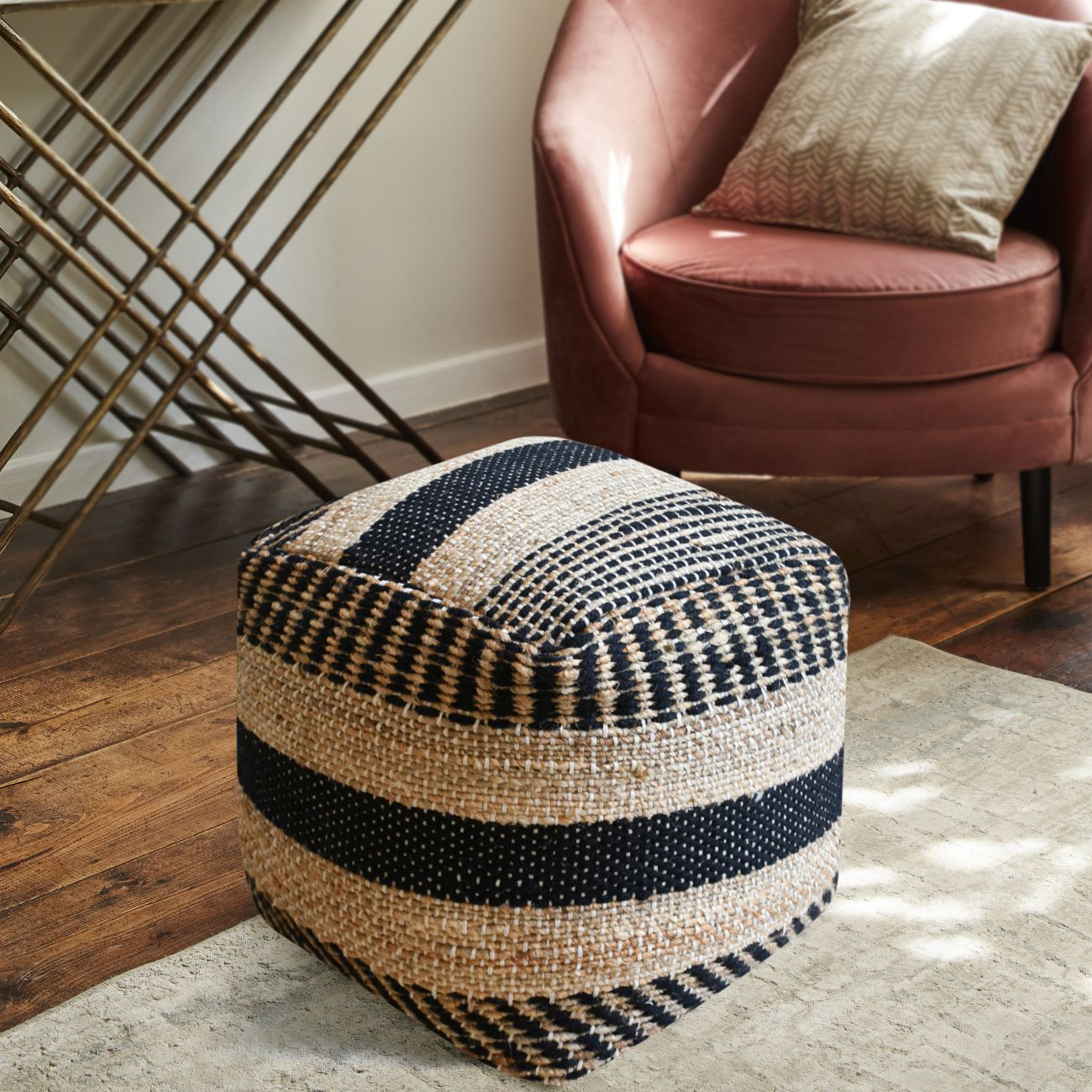 Dennington Hand Woven Pit Loom Charcoal & Natural Hemp Pouffe thumbnail