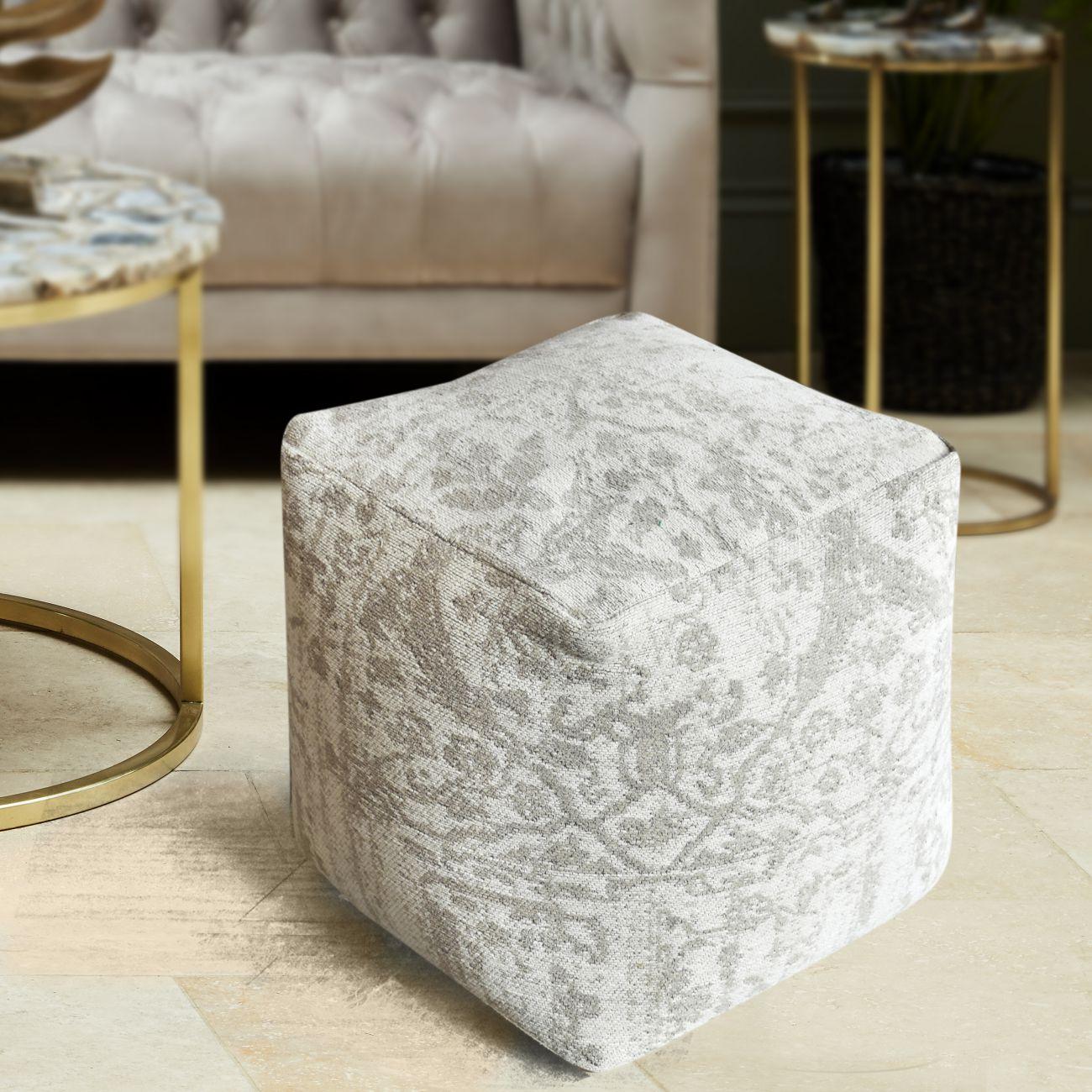 Bilbur Jacquard Woven Ivory & Grey Cotton Pouffe thumbnail