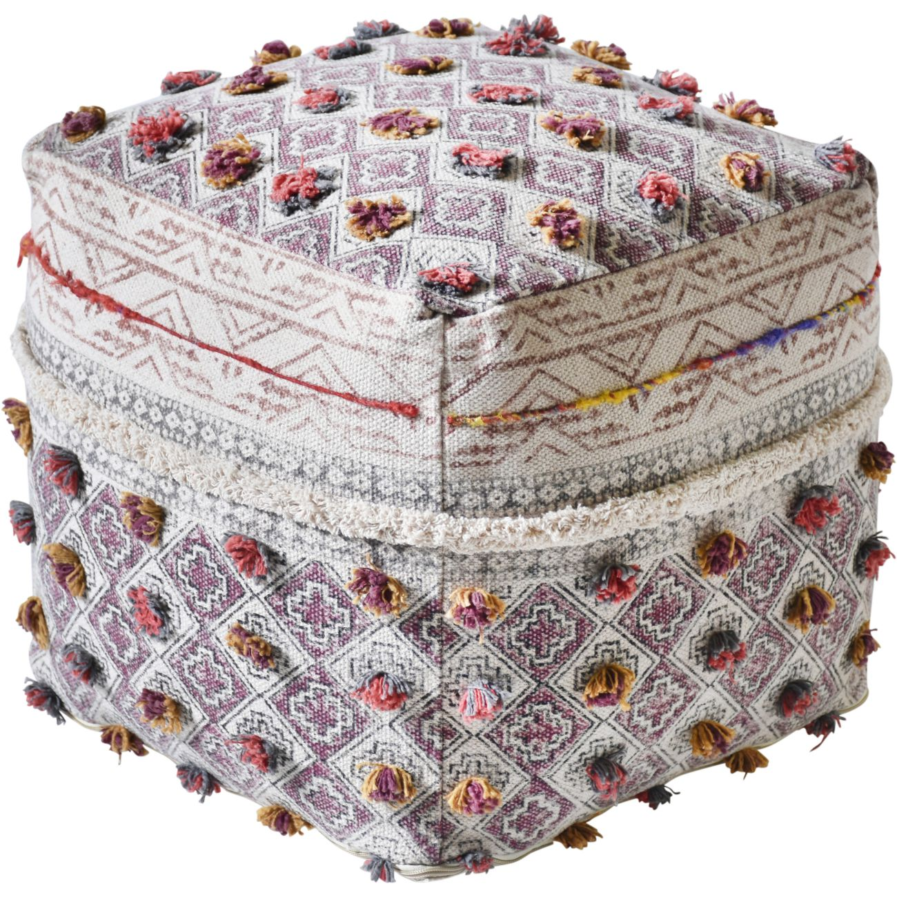 Amble Hand Woven Pit Loom Multi Colour Cotton Pouffe thumbnail