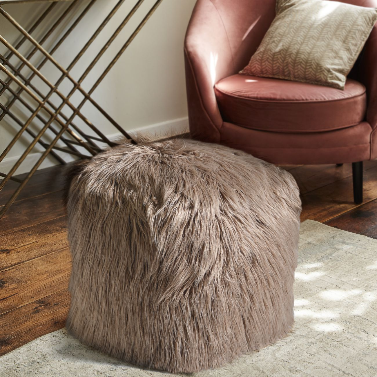 Elbe Hand Made Taupe Faux Leather Pouffe thumbnail