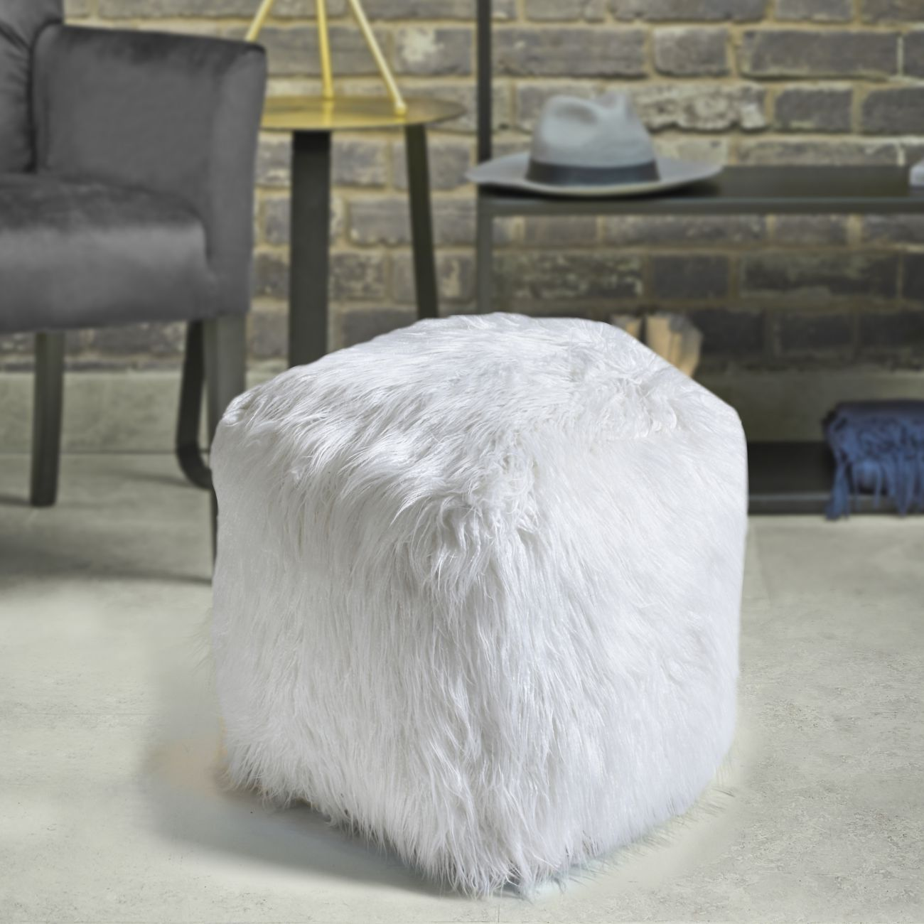 Elbe Hand Made Ivory Faux Leather Pouffe thumbnail