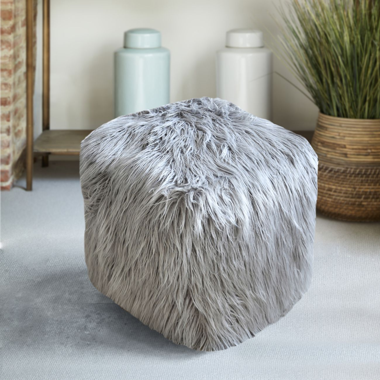Elbe Hand Made Grey Faux Leather Pouffe thumbnail