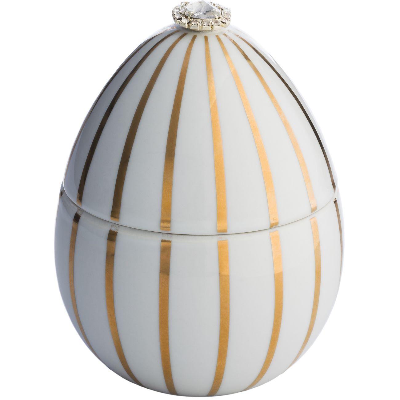 Ladenac Fabergé Ceramic White Egg Candle 220gr Gold Stripes thumbnail