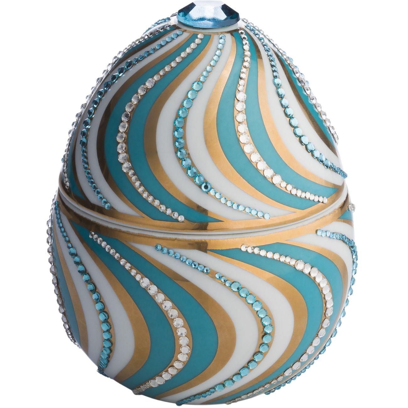 Ladenac Fabergé Ceramic Helicoidal Egg Candle 220gr Light Blue & White thumbnail