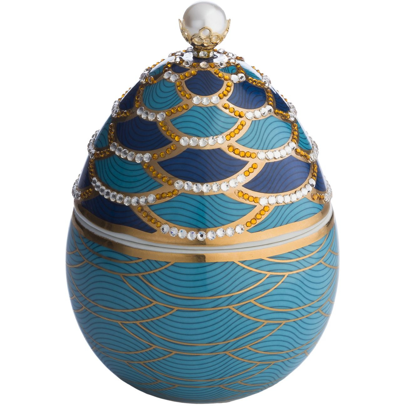 Ladenac Fabergé Ceramic Escamas Egg Candle 220gr Pearled Scales thumbnail