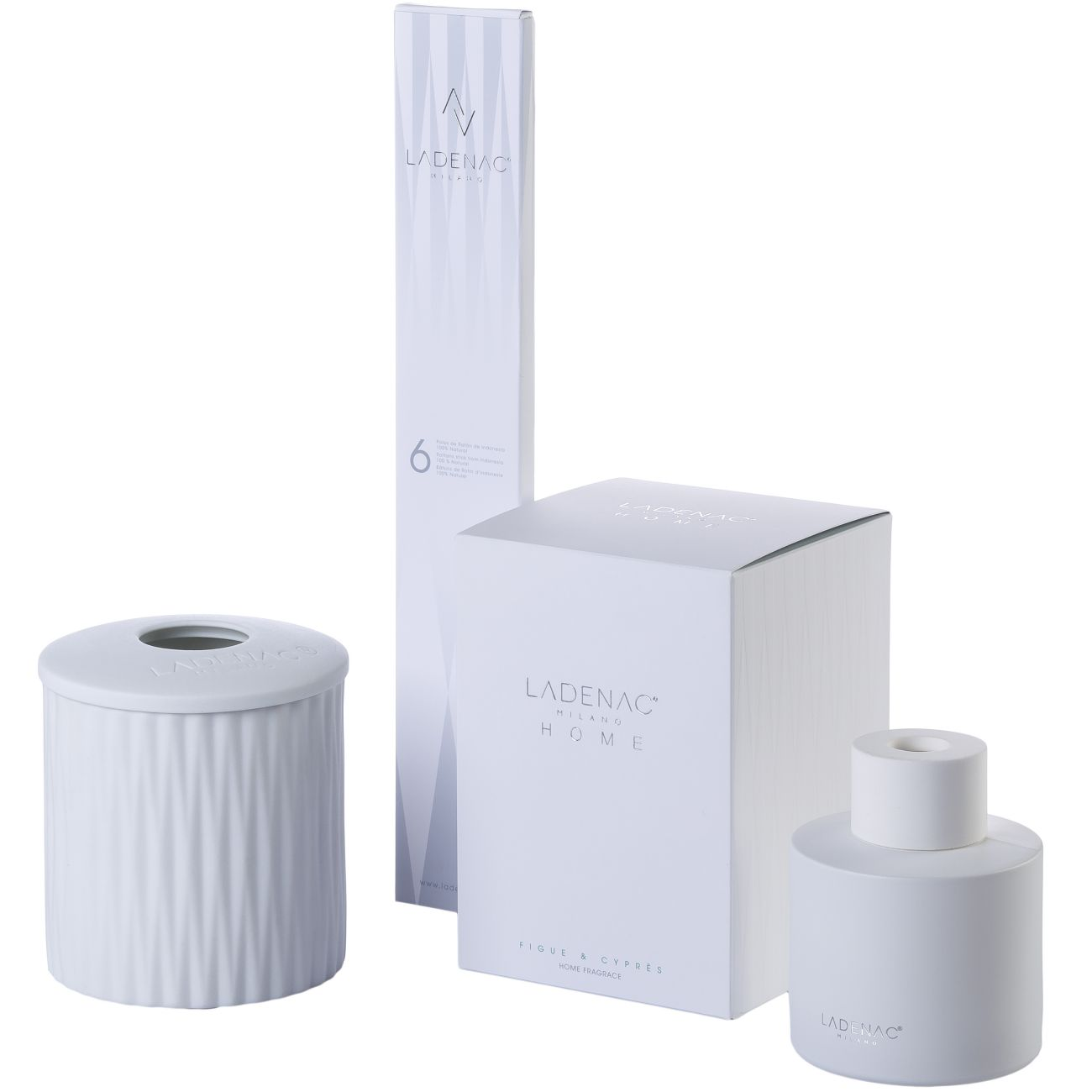 Ladenac Origami Reed Mikado Diffuser 200ml White Jar - Figue Cypress thumbnail