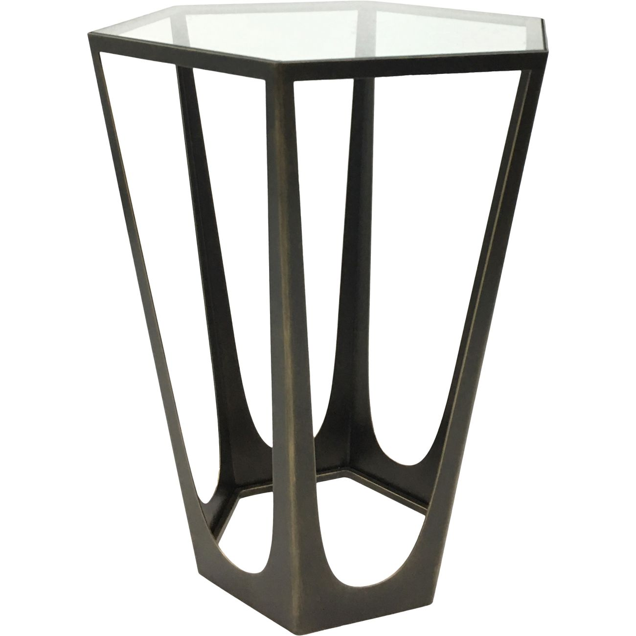 Catalan Bronze Gilded Side Table with Glass Top thumbnail