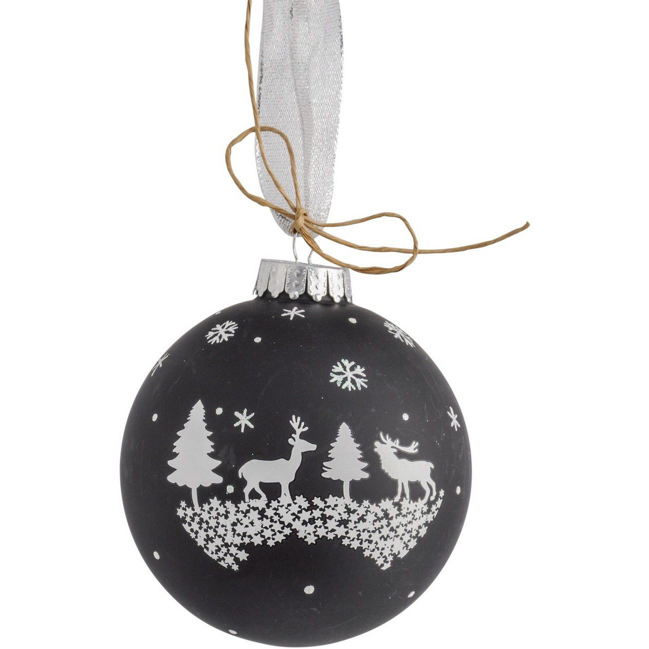 Christmas Winter Scene Bauble Black 10cm - Xmas thumbnail