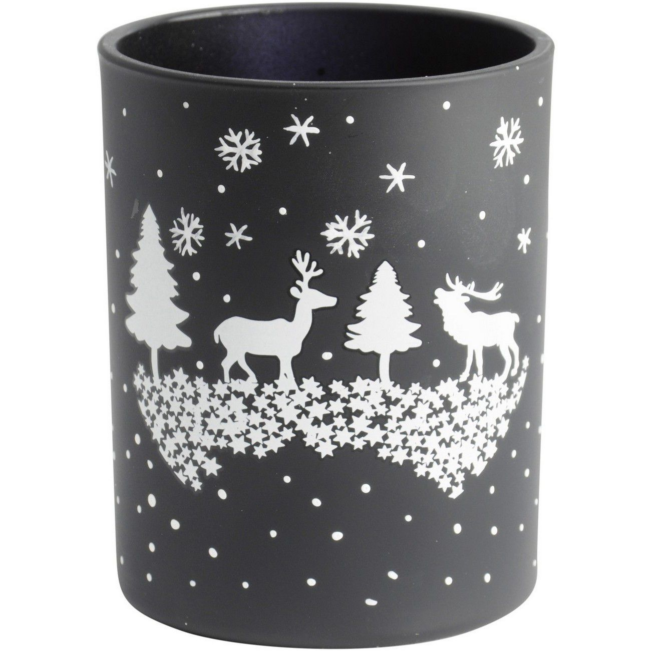 Christmas Winter Scene Candle Holder Black thumbnail