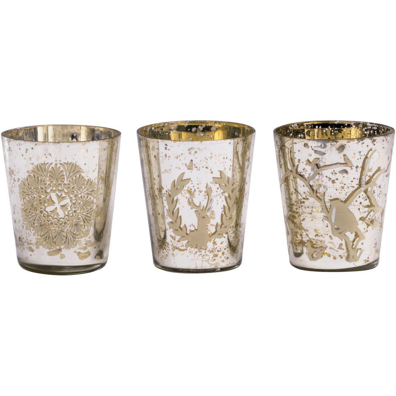 Antique Silver Glass Set Of 3 Votive Holders - Xmas thumbnail