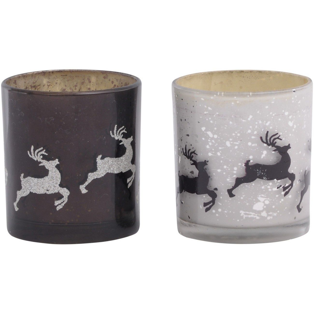 Antique Glass Set Of 2 Deer Votive Holders Small - Xmas thumbnail