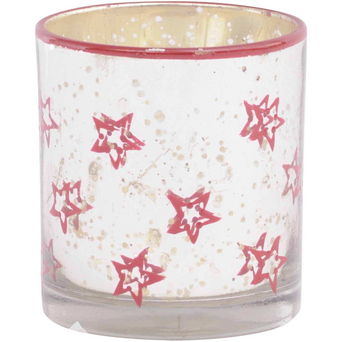 Antique Silver And Red Painted Star Glass Votive Holder - Xmas thumbnail