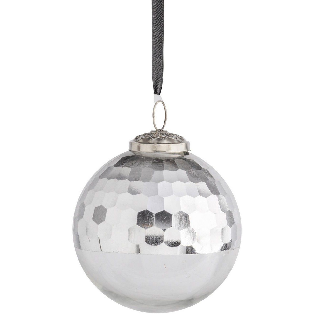 Half Honeycomb Bauble Silver Large - Xmas thumbnail