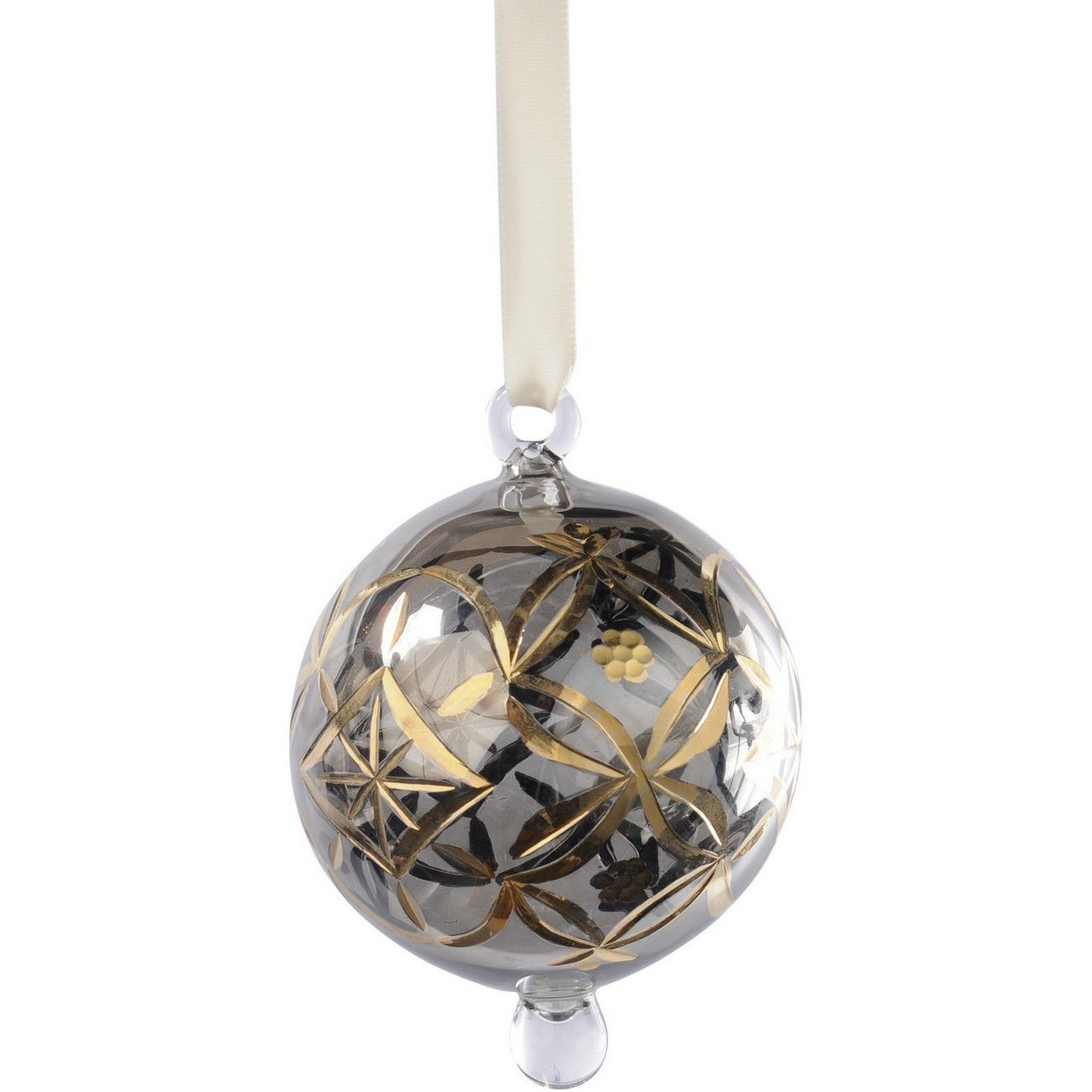 Hand Painted Gold And Grey Glass Round Bauble - Xmas thumbnail