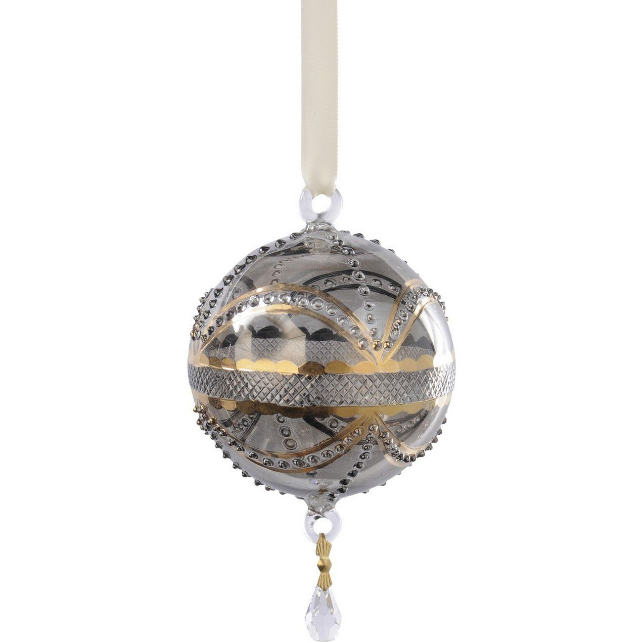 Hand Painted Gold And Grey Glass Ornate Round Bauble - Xmas thumbnail