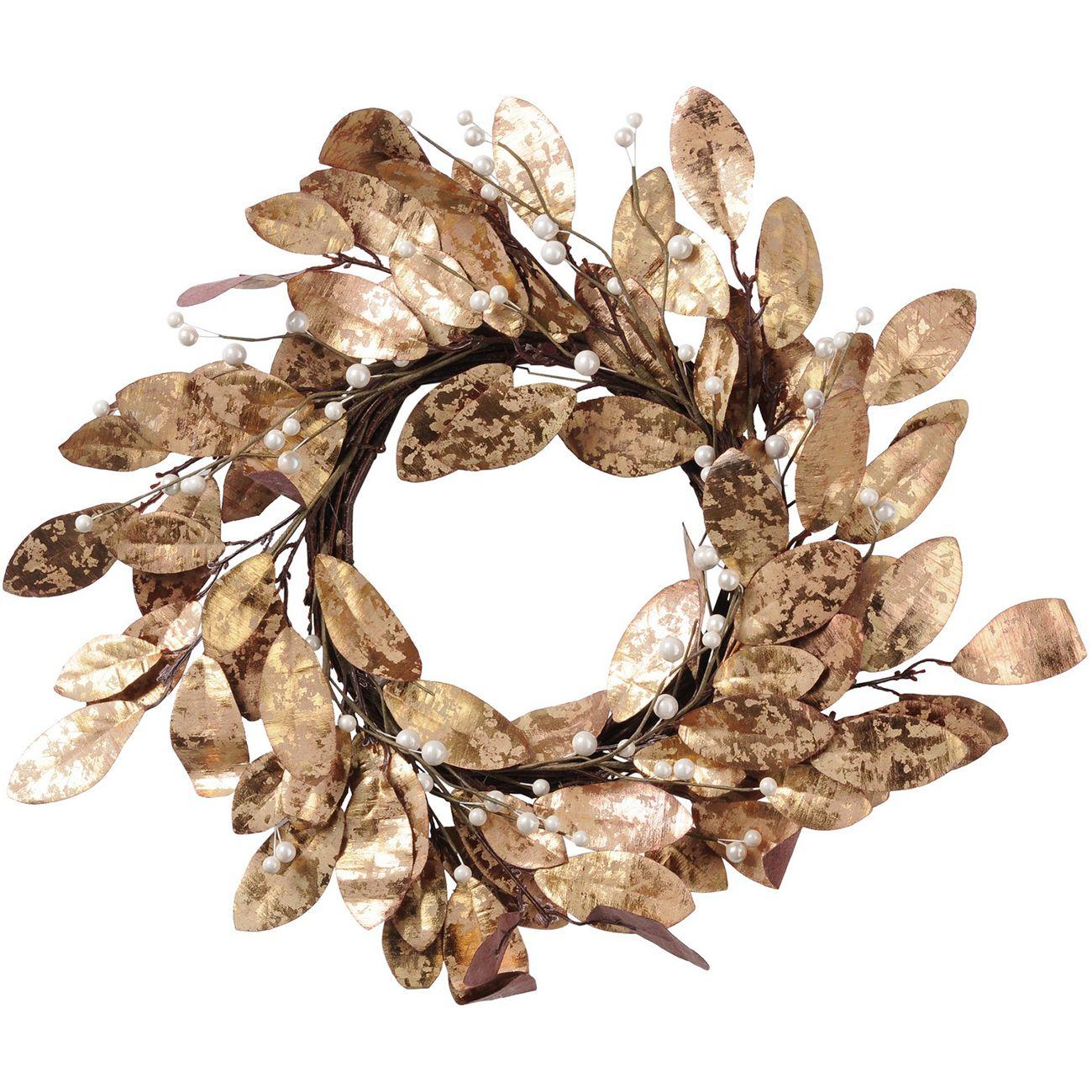 Magnolia Leaf Gold Wreath - Xmas thumbnail