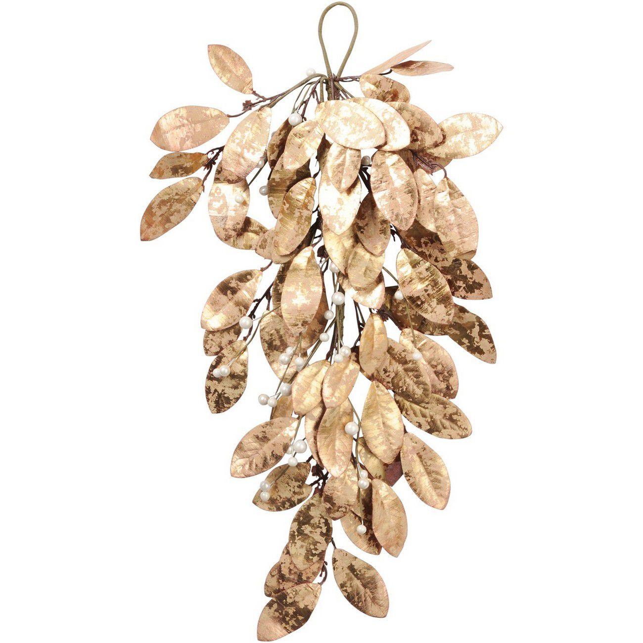 Magnolia Leaf Gold Drop Ornament - Xmas thumbnail