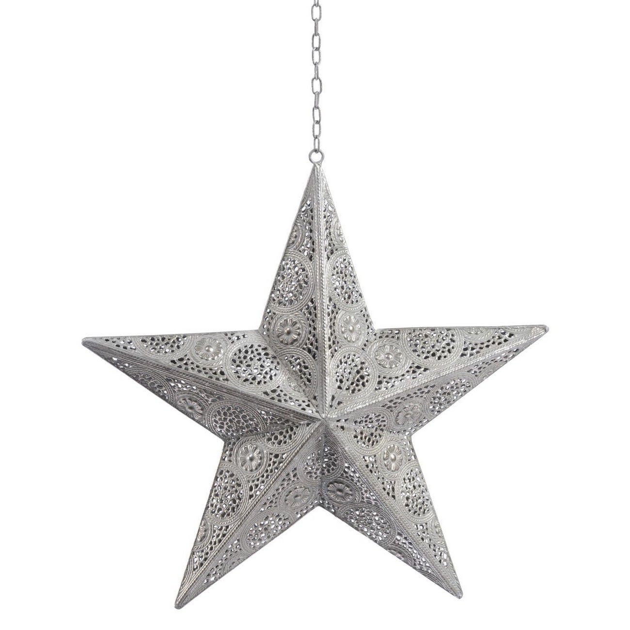 Filigree large Silver Hanging Star - Xmas thumbnail